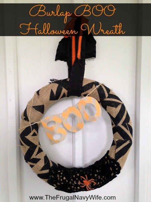 Burlap BOO Halloween Wreath