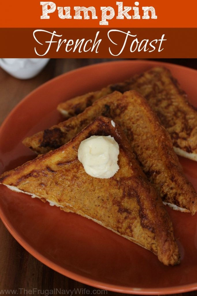 One of the best flavors of fall is Pumpkin. Pumpkin coffee, pumpkin ice cream, and my family's favorite, this pumpkin french toast recipe. #frugalnavywife #breakfast #pumpkinrecipe #frenchtoast #recipe #pumpkinspice | Breakfast Recipe | Breakfast IDeas | Pumpkin Breakfast Ideas | French Toast Recipes | Pumpkin French Toast | Easy Breakfast Ideas