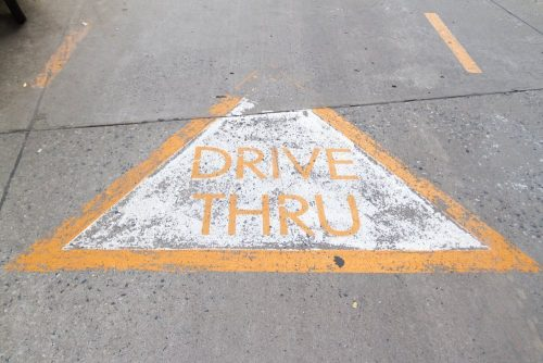 Drive Thru sign on the rode