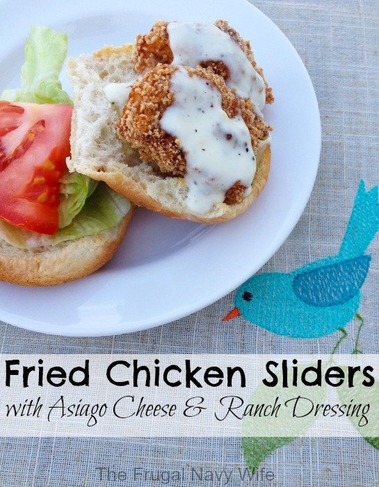 Fried Chicken Sliders with Asiago Cheese & Ranch Dressing
