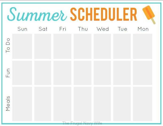 Summer Scheduler Free Printable