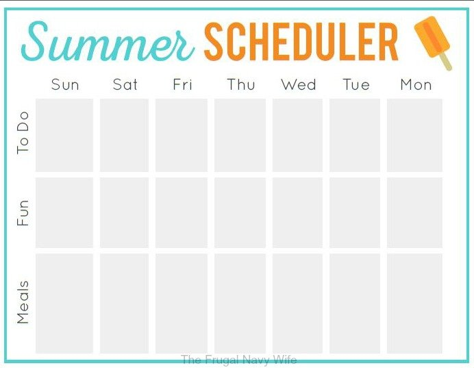 Free Summer Schedule Printable