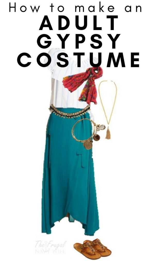 I love costumes from everyday clothes like this Womens Gypsy Halloween Costume. Stop spending hundreds of dollars on costumes you can make from your closet. #halloween #gypsycostume #adultcostume #frugalnavywife | Halloween Costumes | Adult Halloween Costume | DIY Halloween Costume