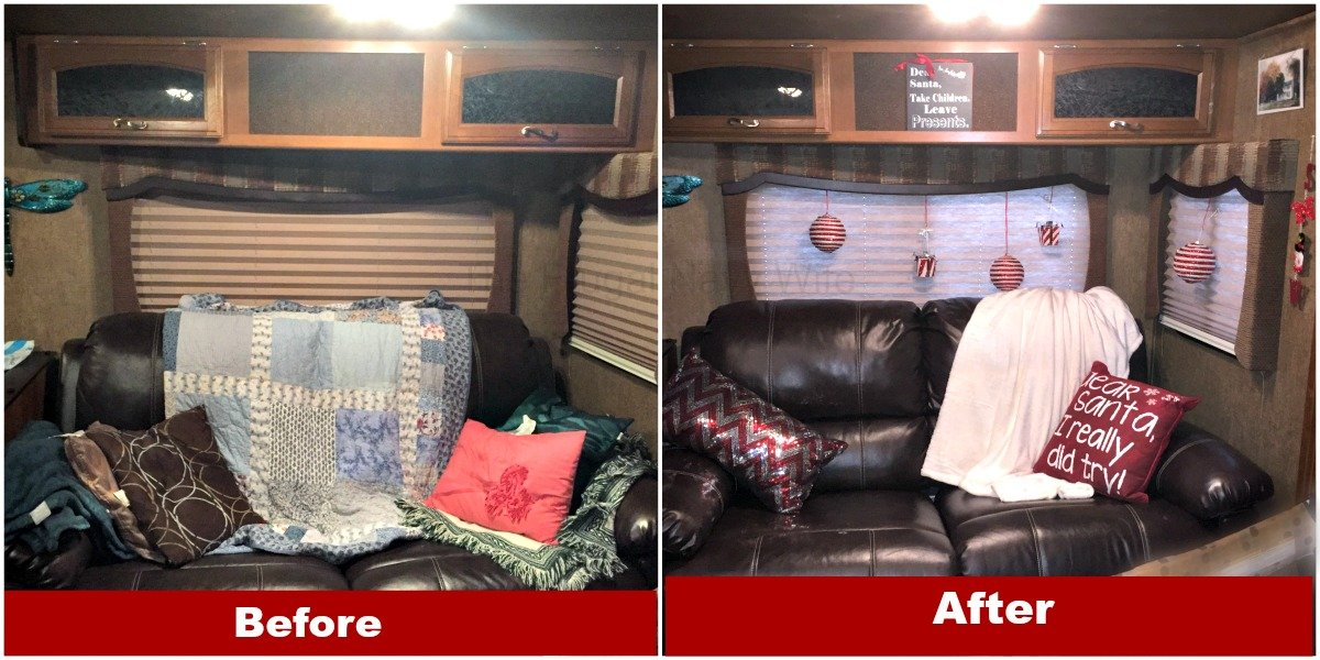at home before and after - Rv Christmas Decorations