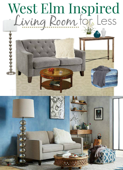 Teal and Grey West Elm Living Room for Less