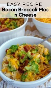 This recipe started out simple. It has developed into this homemade Southern Baked Bacon Broccoli Mac and Cheese recipe my family loves! #bacon #recipe #frugalnavywife #weeknightmeal #macncheese | Mac N Cheese Recipes | Bacon Recipes | Side Dish Recipes | Southern Recipes | Kid Favorite Meals