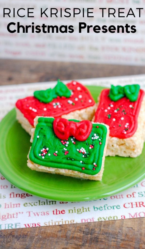 These Rice Krispie Treats Christmas Presents a hit at the Christmas parties and the kids love them! You can get really fancy and add all sorts of decor. #christmaspresents #ricekrispie #desserts #snacks #christmassnacks #frugalnavywife | Christmas Snacks | Easy Classroom Snacks for Christmas | Dessert Recipe | Snacks Recipe | Rice Krispie Treats |