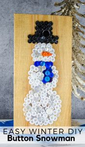I'm on a button art kick and for winter I went with this Button Snowman Craft.I even got the kids to help they picked out buttons for me. Here's how to make it! #frugalnavywife #buttonart #snowman #winter #winterdecor #christmasdecor   Winter Decor   Snowman Decor   Button Art Ideas   Christmas Decor   Easy Crafts for kids   Easy DIY Ideas   Snowman Crafts for Kids