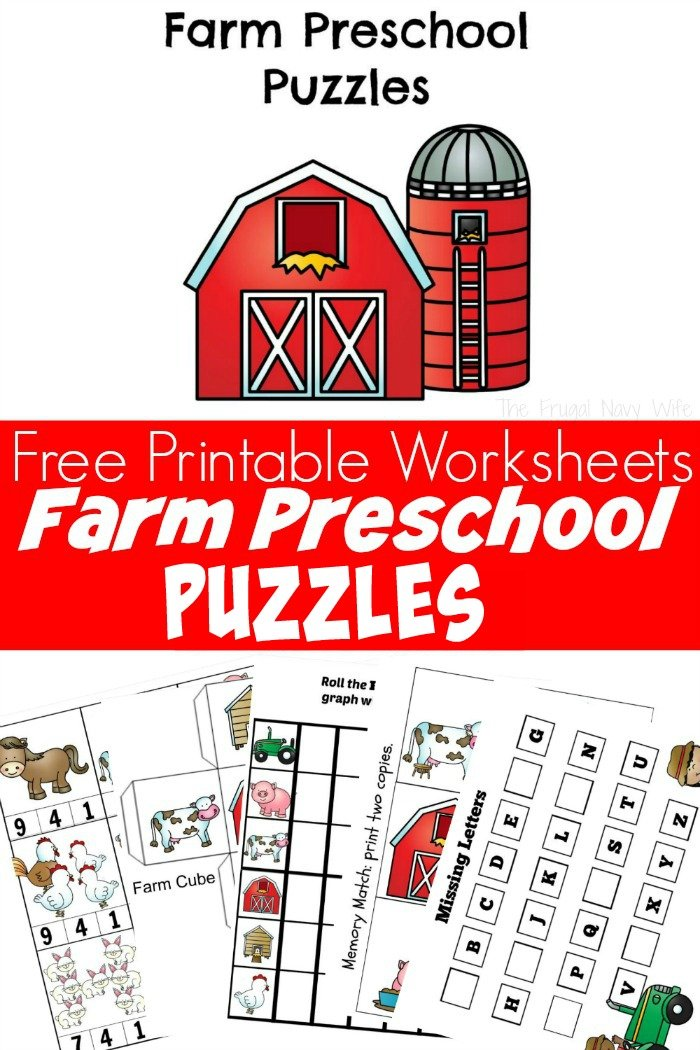 Farm Animal Puzzles Free Preschool Worksheets Printable