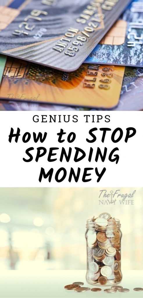 When you are looking to get your budget on track, advice you get is to stop spending money. Here are the Tips to Stop Spending Money I used. #savingmoney #frugalliving #frugalnavywife #budgeting #finances | How to Save Money | How to stop spending money | Saving Money | Money Hacks | Saving Money Hacks | Frugal Living