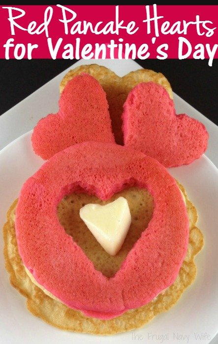 Red Pancake Hearts for Valentine's Day