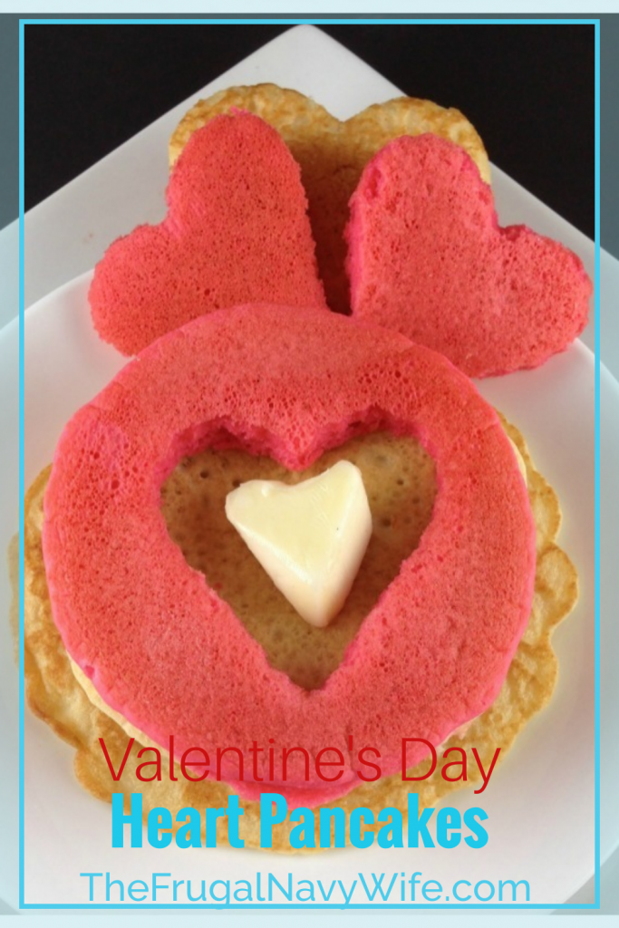 Make these red pancake hearts for Valentine's Day! They even have a special ingredient to put it over the top, come find out what it is! #frugalnavywife #pancakes #breakfast #easyrecipe #heartpancakes #yummy | Easy Breakfast Recipe | Heart Pancake Recipes | Pancake Recipes | Heart Shaped Food | Red Foods | Valentine's Day Breakfast Ideas