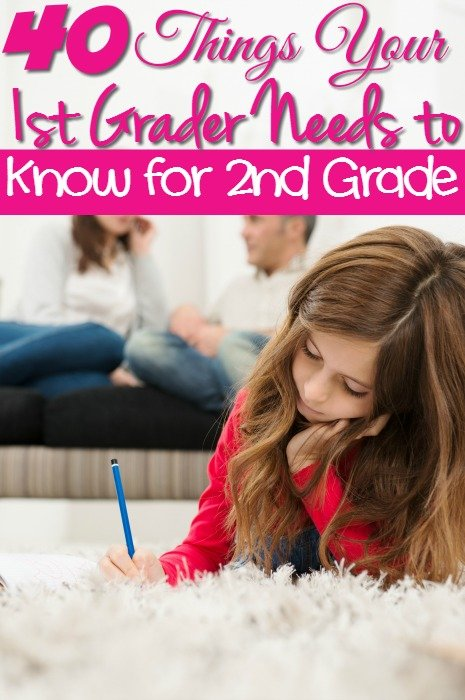 40 Things Your 1st Grader Needs to Know for 2nd Grade