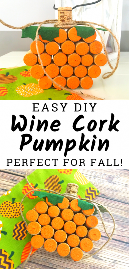 Looking for fun wine cork crafts? This easy wine cork pumpkin craft is one of the perfect wine cork projects for fall, Halloween, and Thanksgiving! #winecorkcrafts #frugalnavywife #pumpkincraft #diy #fall | Wine Cork Crafts | Pumpkin Craft | DIY Project | Fall Home Decor | Halloween Home Decor | Thanksgiving Home Decor |