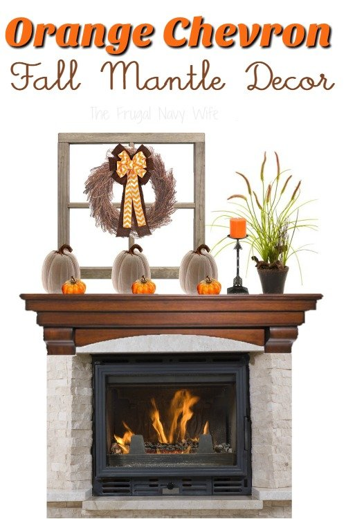 Fireplace Mantel Ideas – Orange Chevron Fall Mantle Decor