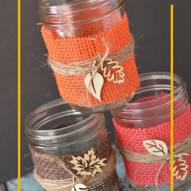 DIY Fall Decorations – Burlap Mason Jar Centerpieces