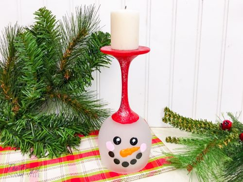 Easy DIY Snowman Wine Glass Candle Holder