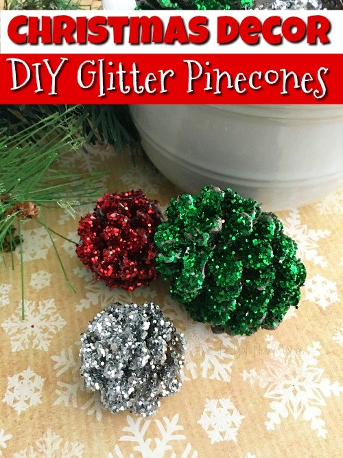 pine cone crafts pinecone christmas decorations easy diy glitter pinecones - Homemade Pine Cone Christmas Decorations