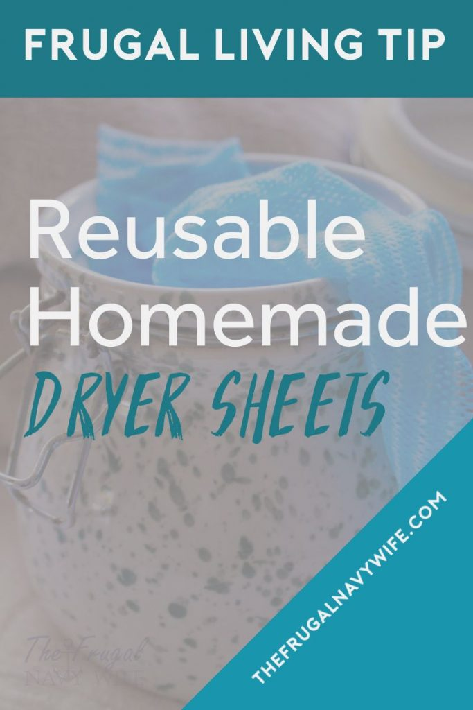 Save money on your laundry bill each month by making these easy homemade dryer sheets. Never spend money on them again and they are reusable. #thefrugalnavywife #dryersheets #frugalliving #homemade #savemoney #frugaldiy | Frugal Living Tips | Reusable Dryer Sheets | How to make Dryer Sheets | Frugal DIY | Saving Money | Homemade Dryer Sheets