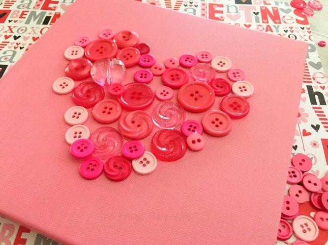 Valentines Day Crafts DIY Button Art Heart Decor