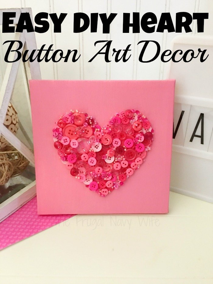 Valentines Day Crafts Diy Button Art Heart Decor