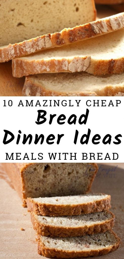 My family loves bread so I am thrilled to come across these cheap bread dinner ideas. So many different options to mix bread into our dinners. #dinnerideas #frugalnavywife #mealswithbread #cheapdinnerideas | Dinner Recipes | Cheap Dinner Ideas | Recipes using Bread | Bread