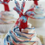My kids love these firecracker cupcakes. I love that my friends and family think I'm some cupcake master when I make these! Really they are super simple! #cupcakes #patriotic #frugalnavywife #redwhitebluefoods #desserts #easyrecipe   Cupcake Recipes   Firecracker Cupcakes   Patriotic Foods   Red White and Blue Food   Easy Dessert Recipes   Desserts