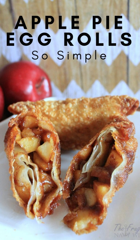 The traditional flavor of apple pie filling wrapped up in a crunchy shell. These apple pie egg rolls are an ideal fall afternoon treat. #applepierecipes #eggrolls #frugalnavywife #fallrecipes #thanksgiving | Thanksgiving Dessert | Fall Desserts | Apple Recipes | Apple Pie Recipes |