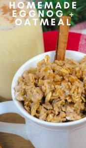 My new favorite eggnog recipe is this easy eggnog oatmeal. I like using my homemade eggnog recipe instead of buying store-bought to reduce waste. #frugalnavywife #eggnog #oatmeal #recipe #eggnogrecipe #christmasrecipies #drinks #breakfast | Breakfast Recipes | Drink Recipes | Eggnog Recipes | Christmas Recipes | Oatmeal Recipes | Winter Recipes
