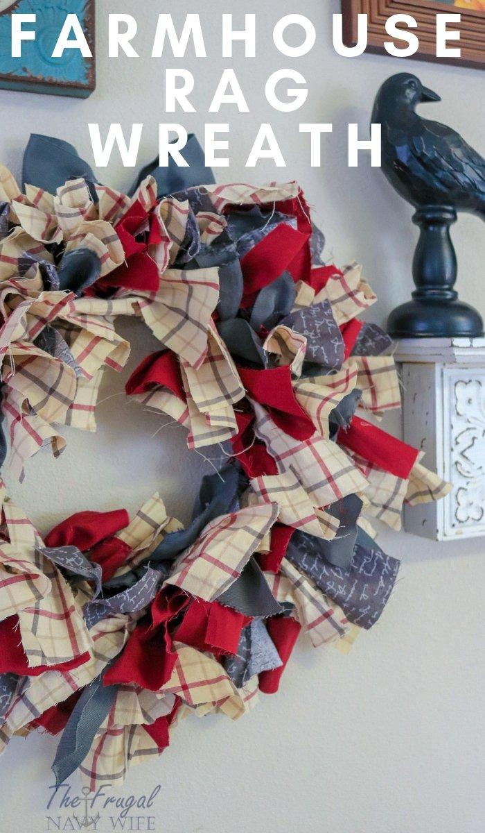 Farmhouse Rag Wreath Diy The Frugal Navy Wife