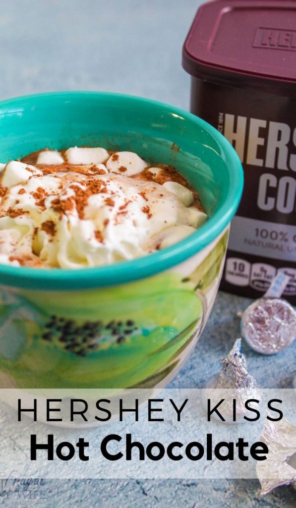 We have many different recipes but this Hershey Kiss Hot Chocolate Recipe is one of my favorite. It's rich and creamy and you just can't beat it! #hersheykiss #hotchocolate #frugalnavywife #drinkrecipe #easyrecipe | Easy Drink Recipe | Drink Recipe | Winter Recipe | Hot Chocolate Recipe | Hershey Kiss Recipe Ideas
