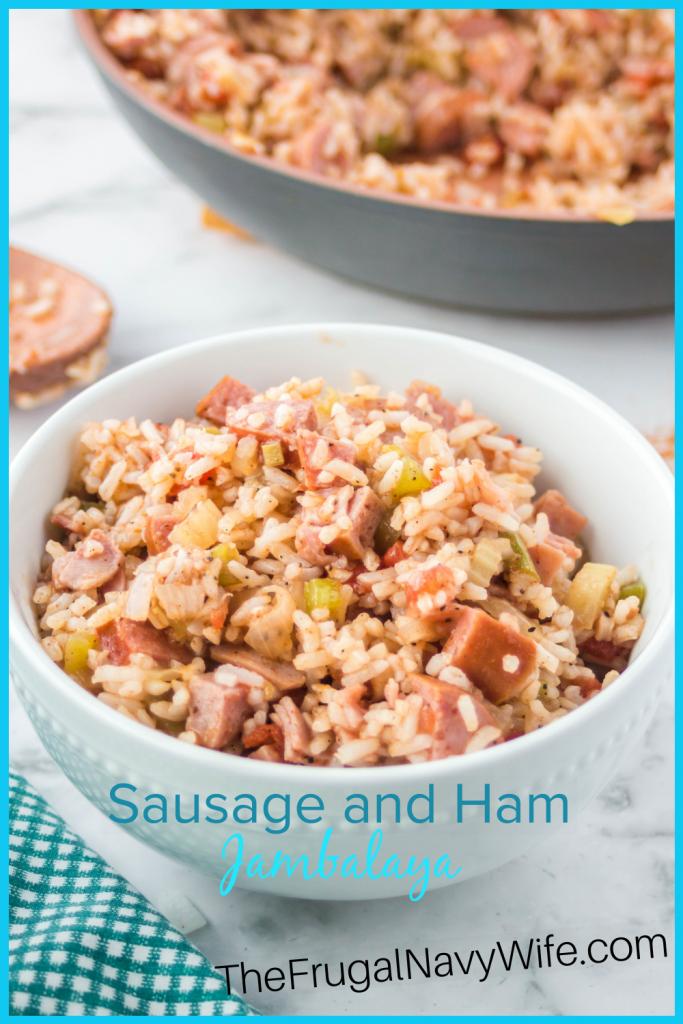 Bring Mardi Gras right into your kitchen with this easy jambalaya recipe your family will love! We make this Sausage and Ham Jambalaya annually! #thefrugalnavywife #jambalaya #mardigras #sausageandhamjambalaya #dinnerrecipe | Dinner Recipe | Jambalaya Recipe | Ham Jambalaya Recipe | Sausage Jambalaya Recipe | Easy Jambalaya Recipes | Recipes for Mardi Gras | Easy Dinner Ideas | Easy Weeknight Meals