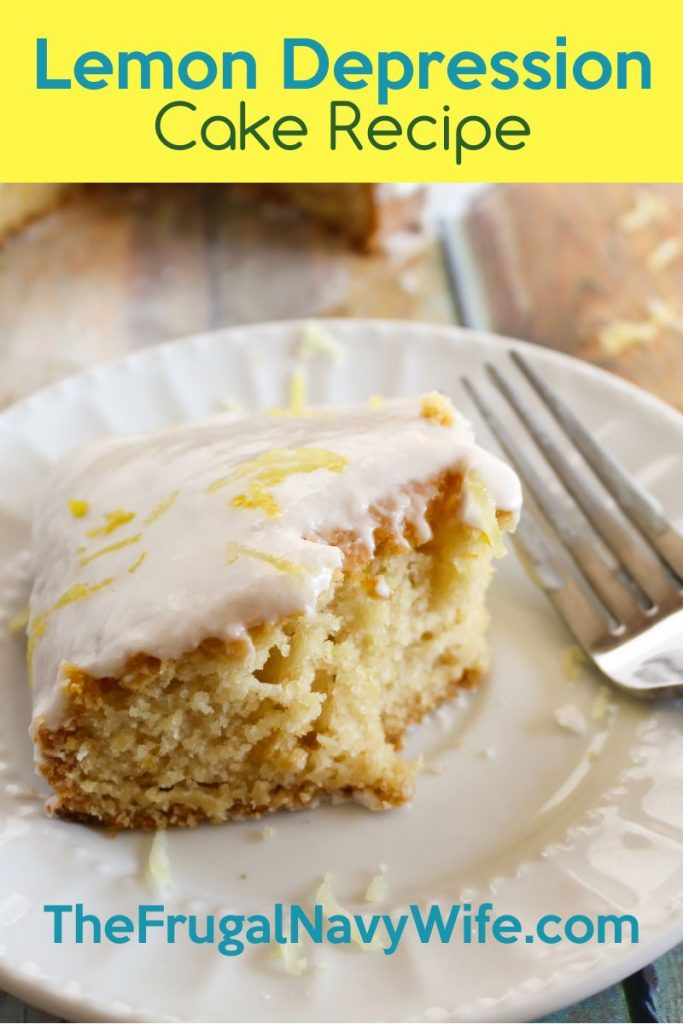 A lemony, dairy-free dessert recipe that will leave you wanting more! Lemon Depression Cake is moist and the process to make is very unique. #frugalnavywife #dessert #scratchrecipe #lemonrecipe #cakerecipe | Cake Recipes | Lemon Recipes | Desserts | Easy Dessert Recipes | From Scratch Baking Recipes | Dessert Recipe |