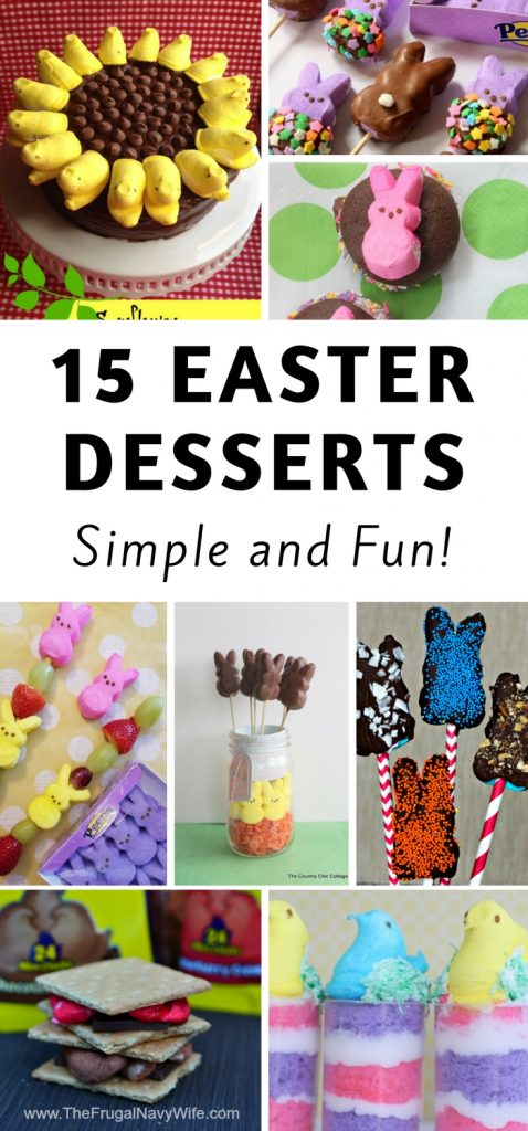 We all love Peeps with them being big for Easter so here are 15 Easy Easter Recipes that include Peeps! Pick your favorite and enjoy! #frugalnavywife #peeps #recipes #easter #easterrecipes #peepsrecipes #holidays   Recipes for Easter   Dessert Recipes   Recipes with Peeps   Peeps Recipes for Easter  