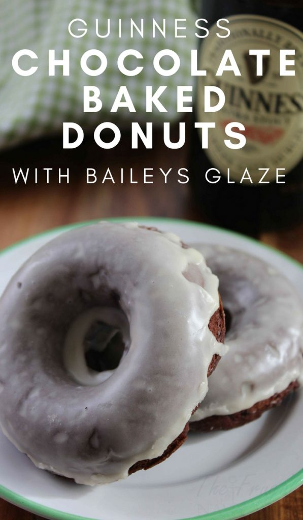 The perfect breakfast for St. Patrick's Day. Make a batch of these Guinness Chocolate Baked Donut Recipe with Baileys Glaze to start your day off right. #thefrugalnavywife #donuts #stpatricksday #breakfastidea #guinness | Donuts Recipe | Breakfast Recipe | St. Patrick's Day Recipe | Recipes with Guinness |