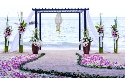 Wedding setting venue on the beach.