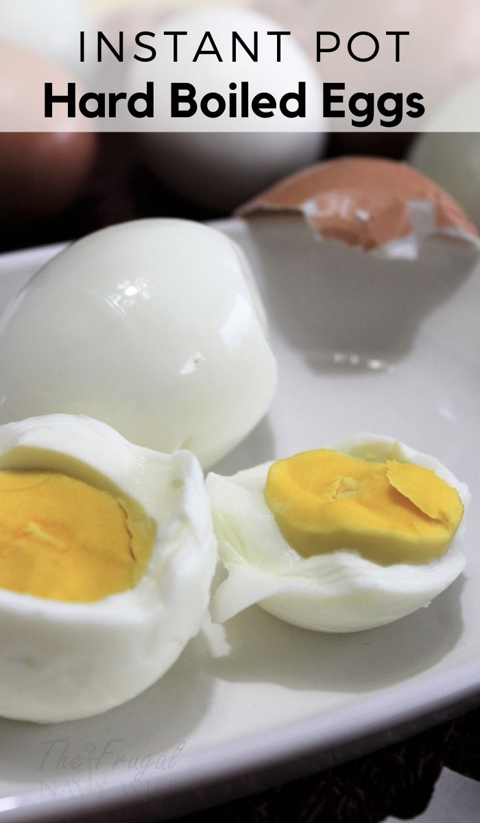 The Easiest Instant Pot Hard Boiled Eggs Recipe you will ever use. Get perfect hard-boiled eggs every time with this simple instant pot recipe. #instantpotrecipe #simpleinstantpotrecipe #hardboiledeggs #thefrugalnavywife | Instant Pot Recipe | Simple Instant Pot Recipes | How to make hard-boiled eggs | Instant Pot | Hard-Boiled Egg Recipes | Appetizer Recipes | Egg Recipes