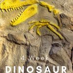 Kids love Dinosaurs! Take a journey and learn all about them with this 4-week Dinosaur Unit Study geared toward preschoolers. #dinosaurs #homeschooling #preschoolers #prek #frugalnavywife   Homeschool Units   Preschool Lessons   Dinosaur Learning Activities   Homeschooling Curriculum  