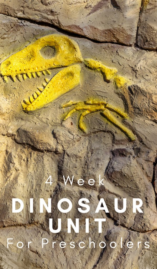 Kids love Dinosaurs! Take a journey and learn all about them with this 4-week Dinosaur Unit Study geared toward preschoolers. #dinosaurs #homeschooling #preschoolers #prek #frugalnavywife | Homeschool Units | Preschool Lessons | Dinosaur Learning Activities | Homeschooling Curriculum |