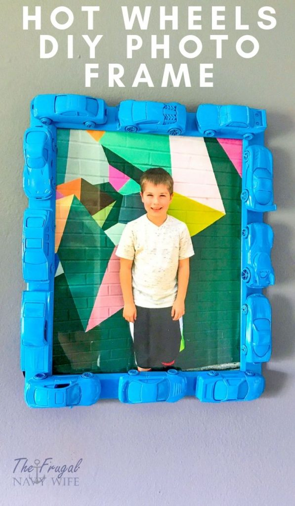 The perfect picture frame idea for a Lego-themed room. Also makes for a great gift. See how to make this in simple to follow steps. #lego #diy #pictureframeidea #legotheme #frugalnavywife | Lego DIY | Lego Theme Picture Frame | Easy DIY Project |