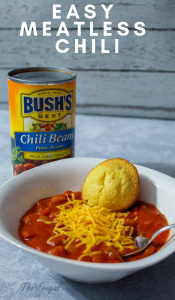 Bushs Beans just made life easier with their BUSH'S® Chili Beans! I share my Easy Meatless Chili you can make in under half an hour! #BUSHSChiliBeans #Ad #frugalnavywife #chillirecipe #chilli #dinner   Dinner Recipe   Chilli Recipe   Meatless Recipe   Meatless Chilli Recipe   Easy Dinner Ideas