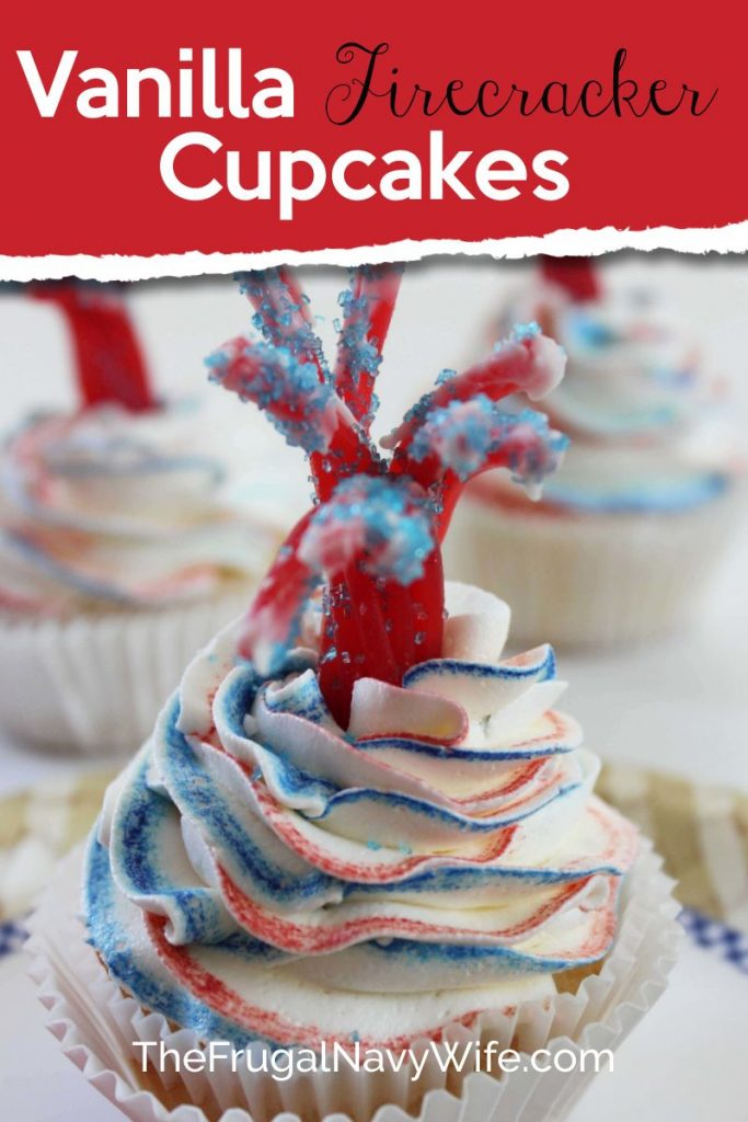 My kids love these firecracker cupcakes. I love that my friends and family think I'm some cupcake master when I make these! Really they are super simple! #cupcakes #patriotic #frugalnavywife #redwhitebluefoods #desserts #easyrecipe | Cupcake Recipes | Firecracker Cupcakes | Patriotic Foods | Red White and Blue Food | Easy Dessert Recipes | Desserts