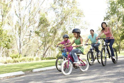 Family bike riding