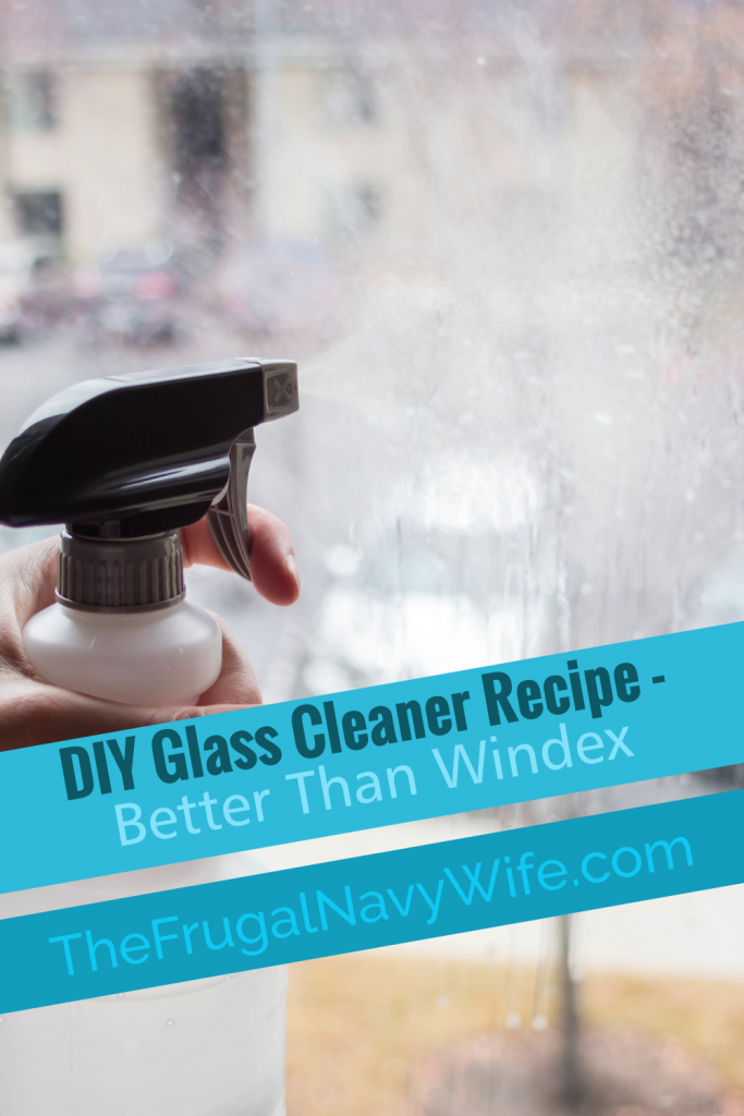 You will love this better than Windex DIY Glass Cleaner Recipe. Mere minutes to mix and with items already in your home. 2 Simple steps. #diy #cleaning #frugallivingtips #frugalnavywife | Cleaning Hacks | DIY Cleaners | Frugal Living | Window Cleaner Recipe