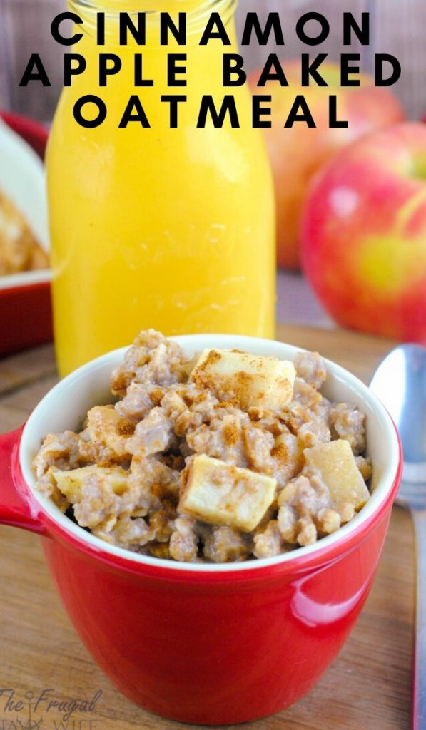 This is my family's favorite way to make oatmeal. This is seriously the best apple cinnamon baked oatmeal recipe I've ever had and it's really easy! #frugalnavywife #oatmealrecipe #applerecipe #fallrecipes #breakfastrecipe #easyrecipe | Fall Recipes | Apple Recipes | Oatmeal Recipe | Breakfast Recipe Ideas | Easy Recipes