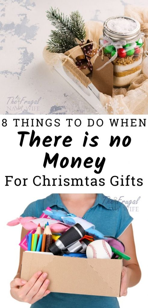 If you are facing a Christmas where there is no money for Christmas gifts, try not to stress too much. These things to do will give you a good start at fixing your gifting problem. #frugalnavywife #christmas #frugalchristmas #giftgiving #money | Frugal Christmas | Christmas Gifts | Budgeting | Gift Giving