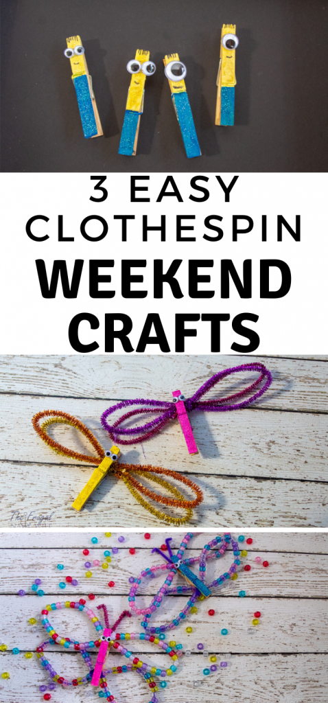 I LOVE these easy weekend clothespin crafts. They keep my kids busy and we get some super cute things to play with, out them! #FrugalNavyWife #WeekendCrafts #KidsCrafts #clothespincrafts #kidsdiy | Kids Activity | Clothespin Crafts | Easy Weekend Crafts | Kids Craft Ideas | Minions Crafts | Butterfly Crafts | Dragonfly Crafts