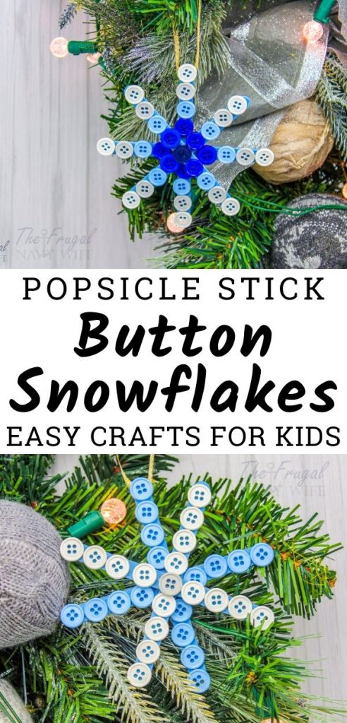 We have a massive amount of buttons so we used them to make this easy DIY Button Snowflake. These popsicle stick snowflake crafts are so much fun! #frugalnavywife #wintercraft #popsiclestickcraft #snowflakecraft #easykidscraft | Popsicle Stick Crafts | Button Snowflakes | Popsicle Stick Snowflakes | Easy Kids Crafts | Easy Winter Crafts |