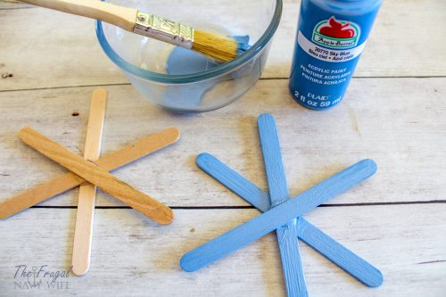 DIY Popsicle Stick Snowflake Craft - Sequin