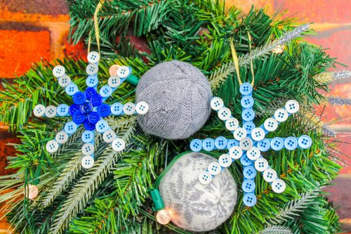 Easy DIY Button Snowflake - Popsicle Stick Snowflake Craft